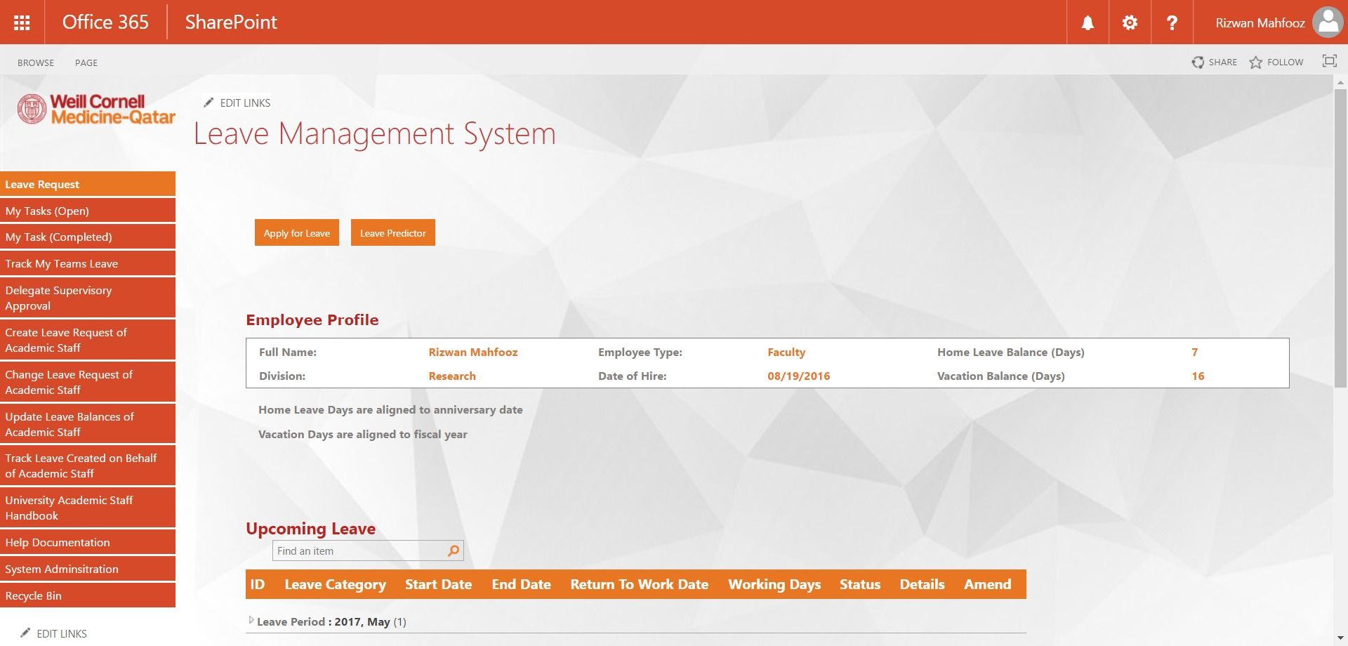 SharePoint based Leave Management System